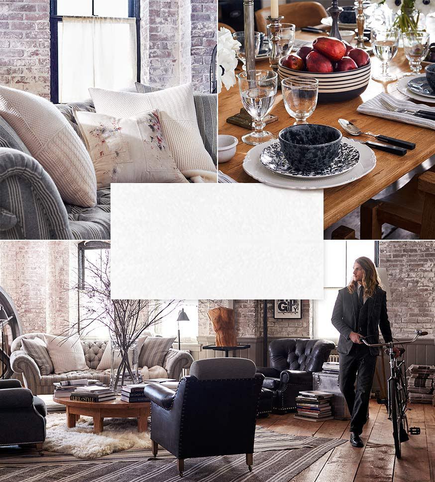 Left: Cream-colored throw pillows. Right: Hoxton tableware. Below: Man in grey suit walks bike through living area of loft