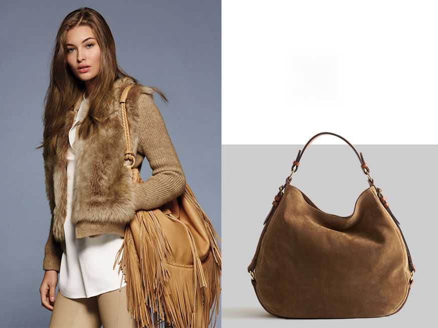 left-Woman layers tan sweater over white blouse & carries tan leather hobo bag with fringe. Right-Sand-colored leather bag with silver concho & woven shoulder strap