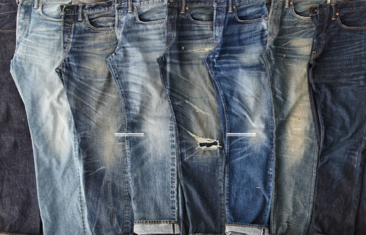 Row of jeans in different washes