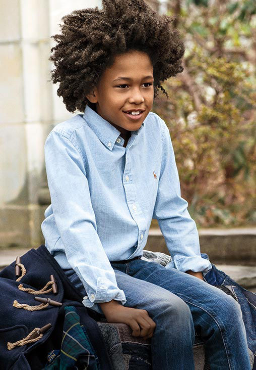 Boy wears long-sleeve chambray shirt & jean