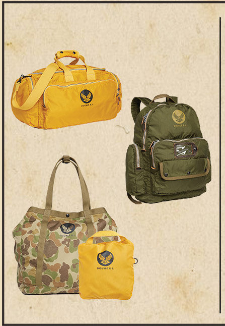 Yellow duffel, green backpack, camouflage tote & tote packed into yellow pocket