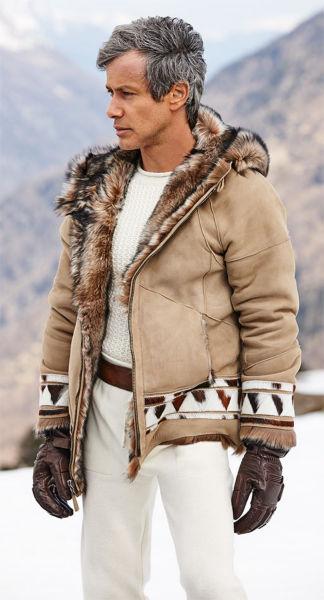 Ralph Lauren Home. Tan coat with long-hair shearling lining \u0026amp; pieced haircalf trim