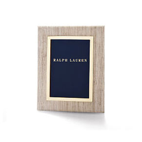 Picture frame covered in textured silk \u0026amp; with brass trim
