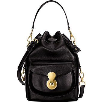Black leather Ricky Drawstring bag