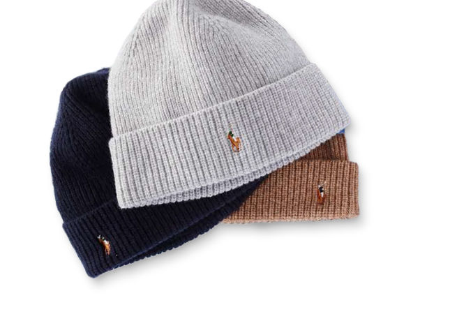 3 knit beanies in white, black & tan