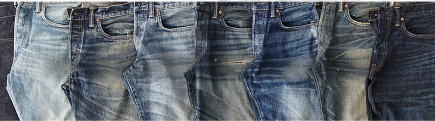 Row of Double RL denim of various shades & washes
