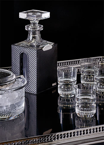 Crystal decanter with black leather exterior & crystal vodka glasses