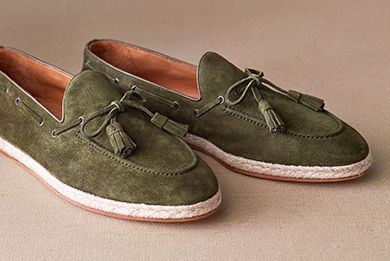 Loden suede penny loafers